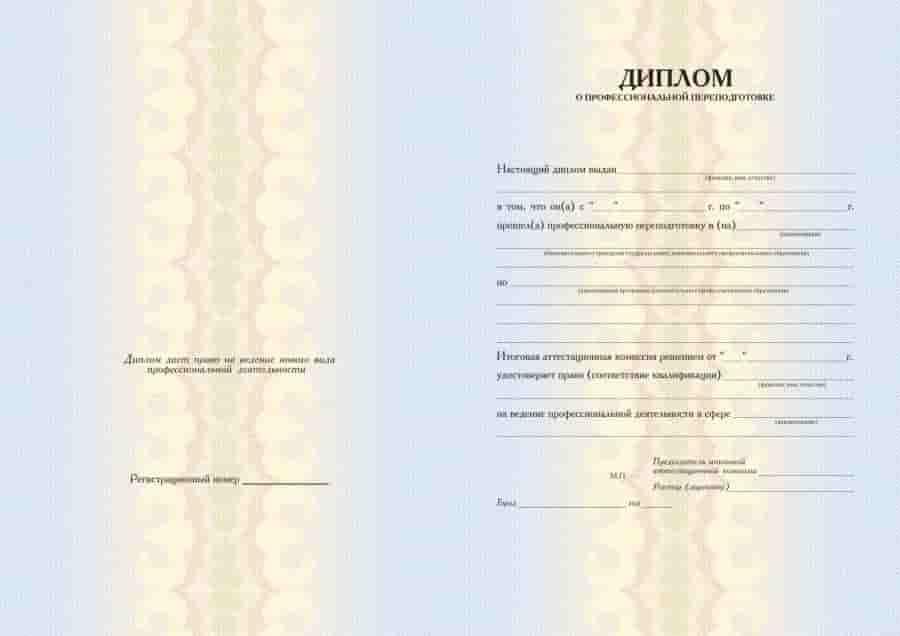 диплом о проф переподготовке ПРОФИ